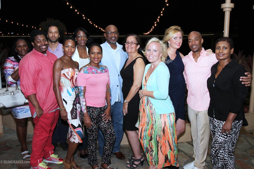 Pearl Strategies' press group for SXM Carnival stopped to chat after dinner with St. Maarten Minister of Tourism the Honorable Claret Conner, Tourist Bureau Representative Janelle Hermance and Divi Little Bay General Manager Celine Van Meer. (Photo by Sean Drakes)