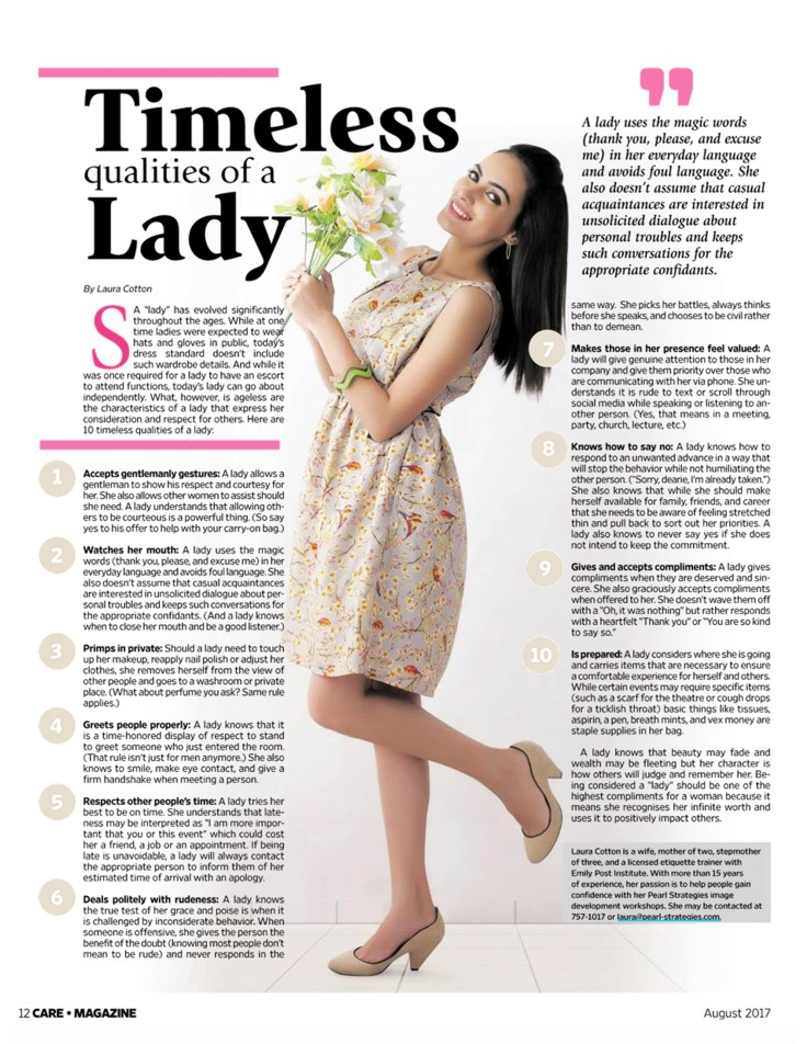 Timeless Qualities of a Lady - Pearl Strategies: PR and
